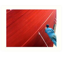 red boat and men at work  Art Print