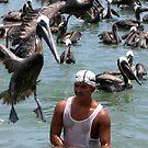 Pelican and fisherman  by patricemassa