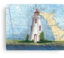 Tobermory Lighthouse Ontario Canada Nautical Chart Peek Canvas Print