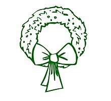 Vintage Green Christmas Wreath with Ribbon by pdgraphics
