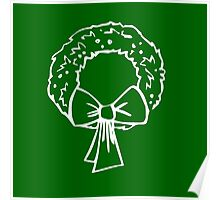 Vintage Green Christmas Wreath with Ribbon Poster