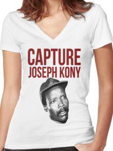 "Kony T-Shirt - ""Capture Kony"" Women's Fitted V-Neck T-Shirt"