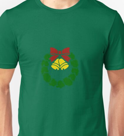 Vintage Christmas Wreath with Ribbon and Bells Unisex T-Shirt