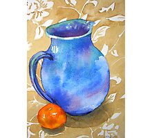 Water colour Still Life painting, Blue Jug Photographic Print