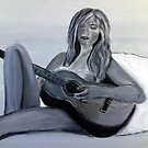 Girl playing a guitar - chica tocando la guitarra by shearart