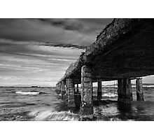 Cement Pier in Black and White Photographic Print