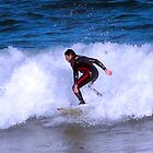 Surfing on a Barcelona Beach by Sue Ballyn