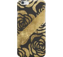 Elegant Faux Gold Floral and Black iPhone Case/Skin