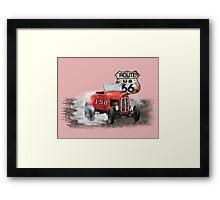 Race car in America higway rustic designer. Framed Print
