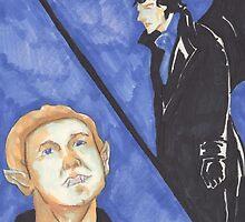 John and Sherlock - Moonstruck Johnlock - Halloween  by mildlunacy