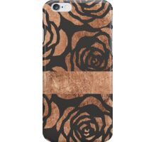 Elegant Faux Bronze Floral and Black iPhone Case/Skin