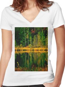 Fall Reflections Women's Fitted V-Neck T-Shirt