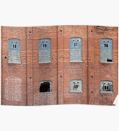 Brick Wall Broken Windows Poster