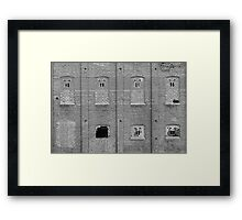 Brick Wall Broken Windows BW Framed Print