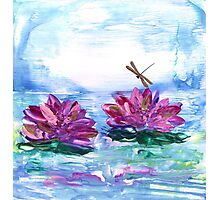 Water Lilies and Dragonfly Photographic Print