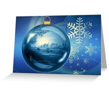 Blue and White Christmas Snowflake Ornament Greeting Card