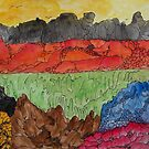 Birds over volcanic landscape by George Hunter