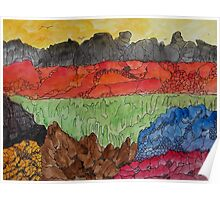 Birds over volcanic landscape Poster