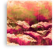 ITS A ROSE COLORED LIFE Floral Hot Pink Marsala Olive Green Flowers Abstract Acrylic Painting Fine Art Canvas Print