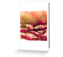 ITS A ROSE COLORED LIFE Floral Hot Pink Marsala Olive Green Flowers Abstract Acrylic Painting Fine Art Greeting Card