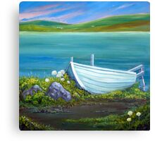 The white boat Canvas Print