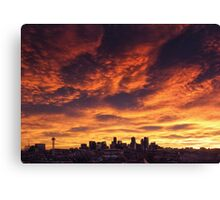 Denver Skyline Sunrise Canvas Print