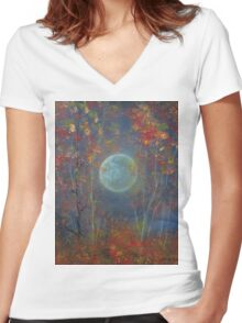 Autumn Whispers Women's Fitted V-Neck T-Shirt