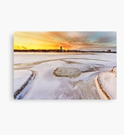 Wascana lake freezing Canvas Print