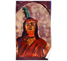 Native American, a proud people, watercolor Poster