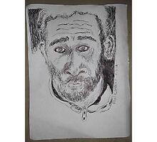 Self-portrait/2 of 3 -(080312)- Black biro pen/white A4 sketchbook Photographic Print