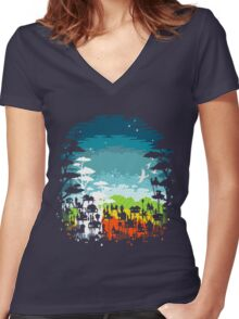 Rainforest city Women's Fitted V-Neck T-Shirt