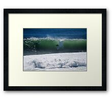 Occy dropping into a big shark island wave Framed Print