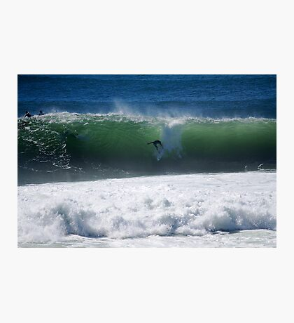 Occy dropping into a big shark island wave Photographic Print