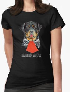 Rottweiler dog ready elegant  Womens Fitted T-Shirt