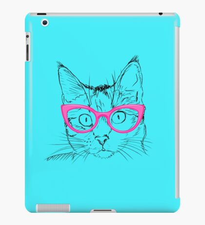 Blue and Pink Hipster Cat iPad Case/Skin
