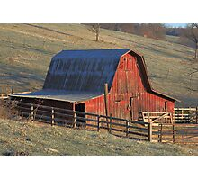 Tucked Away Barn gets first light Photographic Print