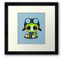 Cute Chibi Aviator Turtle Framed Print