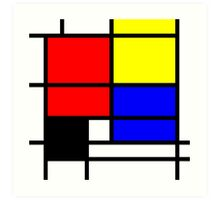 Mondrian style design in basic colors Art Print