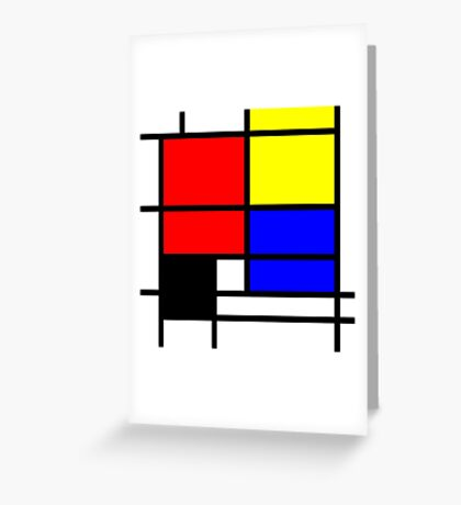 Mondrian style design in basic colors Greeting Card