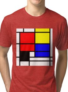 Mondrian style design in basic colors Tri-blend T-Shirt