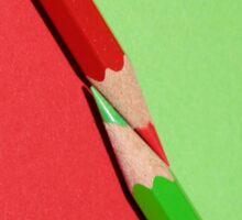 Red and Green Diagonal Colored Pencils Sticker