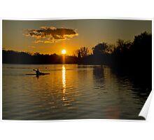 Sunset over lake Wascana Poster