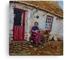 """""""Taking the Air, Elderly Lady at her Smallholding, Glens of Antrim."""" Painted from a photograph dated 1906. Canvas Print"""