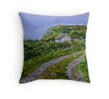"""Ruined Cottage near Kinny Lough, Magheradrumman, Fanad, Donegal."" Throw Pillow"