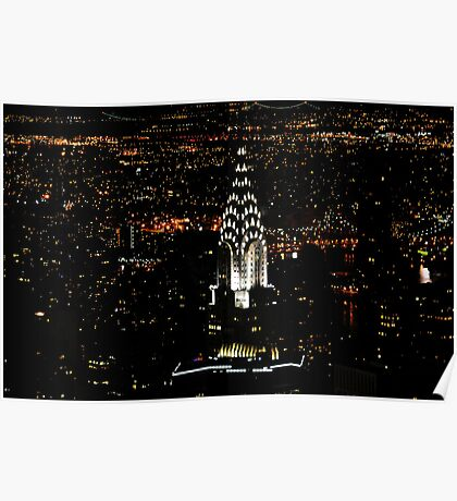 Chrysler at night from Empire State Poster