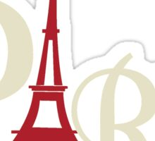 Iconic Eiffel Tower in Red Paris France Sticker