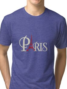 Iconic Eiffel Tower in Red Paris France Tri-blend T-Shirt