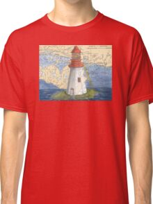Lonely Island Lighthouse Ontario Map Cathy Peek Classic T-Shirt