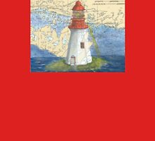 Lonely Island Lighthouse Ontario Map Cathy Peek T-Shirt