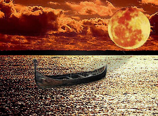 Adrift in the Sunset Under the Moon by nikspix